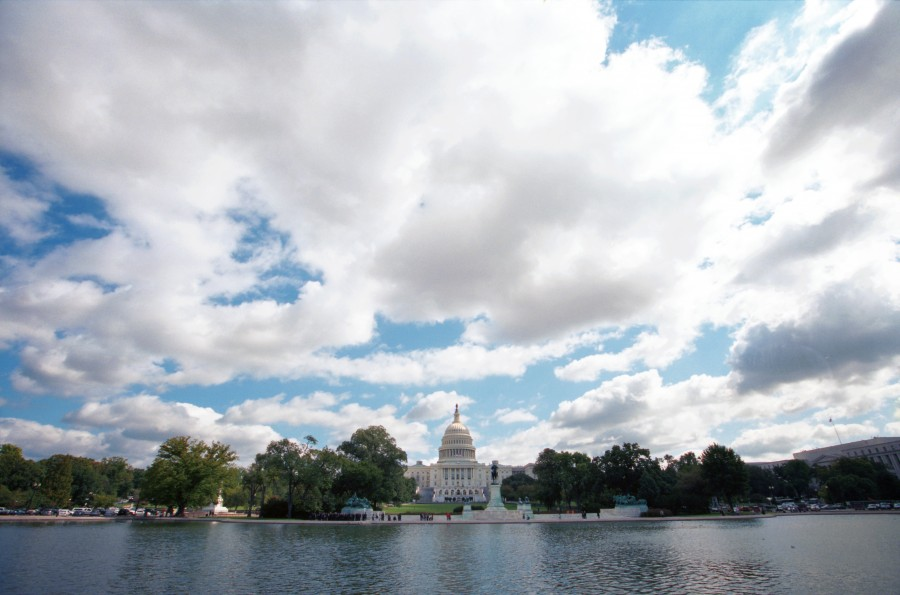 Capitol on Water and Clouds
