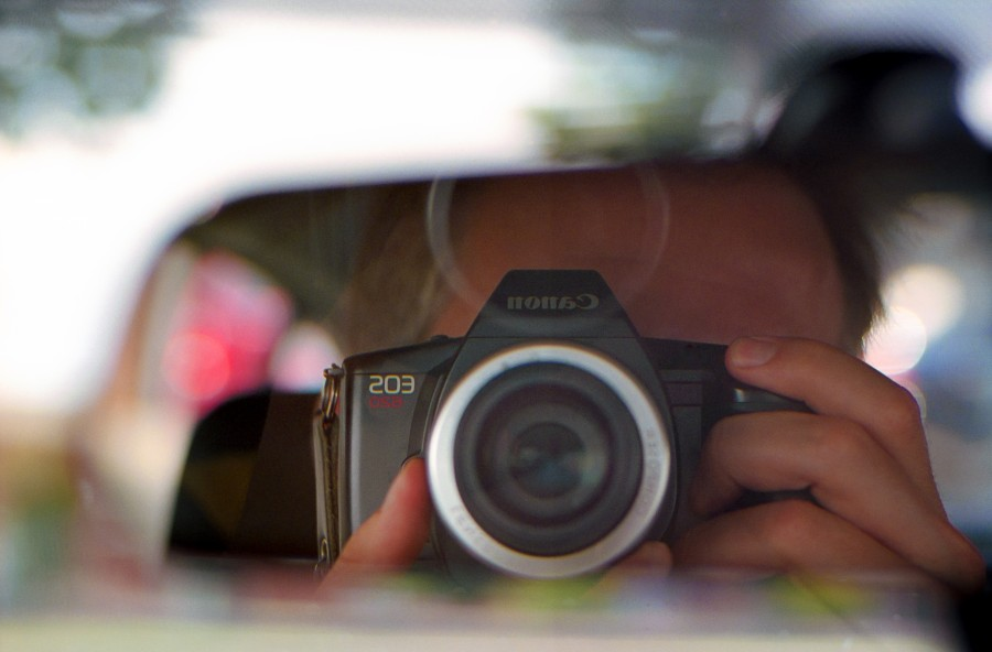 The rear-view mirror selfie is the only way to end a roll outside of the camera shop.